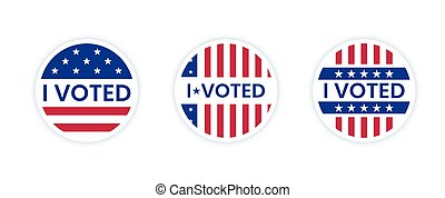 I voted sticker with us american flag.