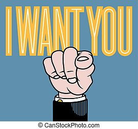 I want you pointing finger vector