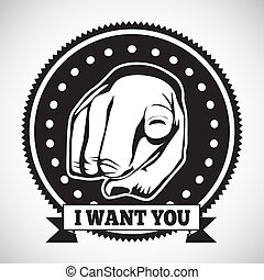 i want you seal over gray background vector illustration