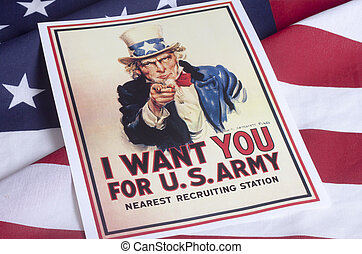 I want you - Uncle Sam with American Flag background