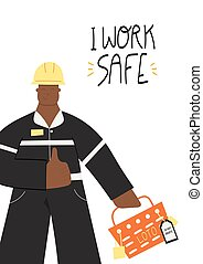 I work safe poster with Industrial worker