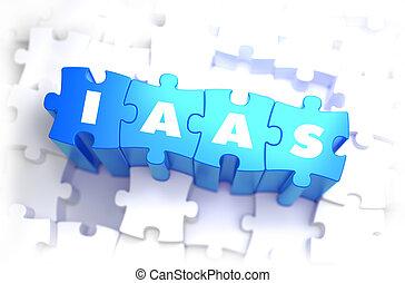iaas, -, blanco, palabra, en, azul, puzzles.