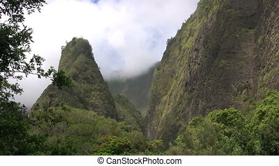 Iao Needle State Park Maui - storm clouds over iao needle...