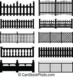iarda, recinto, picchetto, legno, parco, metallico