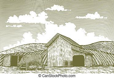 iarda, woodcut, granaio