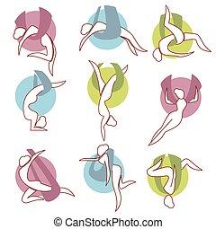 IAsans of anti-gravity yoga. - Icon set asans of...