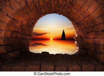 iate, pôr do sol, velejando, contra