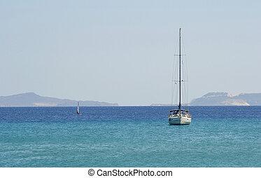 iate veleiro, em, mar