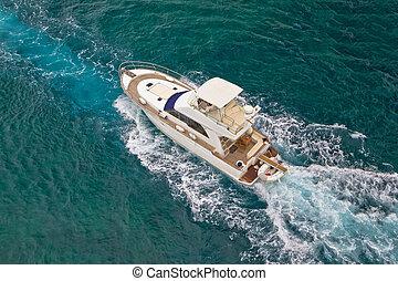 iate, velejando, ligado, mar, vista aérea