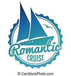iate, viagem, -, água, desenho, cruzeiro, logotipo, bandeira