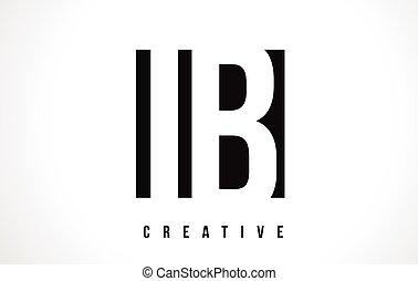 IB I B White Letter Logo Design with Black Square.