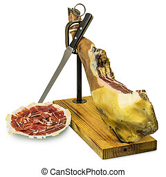 Iberian ham and ham slices - Isolated Iberian ham on ham...