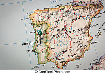 Iberian peninsula Map - Closeup of a mark on impressed map ...