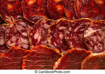 Iberian sausages ham board Tapas from spain - Iberian...