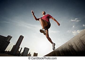 iberische man, rennende , en, springt, van, een, muur