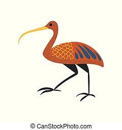 Ibis bird, symbol of traditional Egyptian culture cartoon vector Illustration