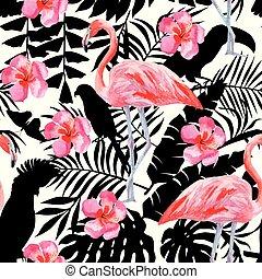 ibisco, acquarello, fenicottero, silhouette, modello, tropicale, piante, pappagalli, fondo