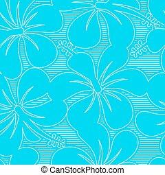 ibisco blu, luce, linee, seamless, modello, bianco