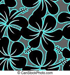 ibisco blu, modello, linee, seamless, nero, bianco
