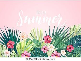 ibisco, esotico, hawaiano, cartolina, reale, leaves., monstera, fiori, fondo., vettore, disegno, floreale, palma, orizzontale