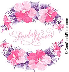 ibisco, fiore, wreath.