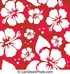 ibisco, modello, fiore, seamless, hawaiano