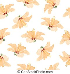 ibisco, modello, giallo, tropicale, luminoso, fiori
