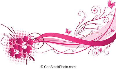 ibisco, rosa, disegno, florals