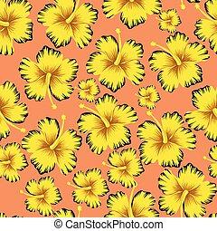 ibisco, rosa, seamless, sfondo giallo, fiori