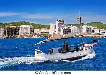 Ibiza boats in San Antonio de Portmany bay at Balearic...