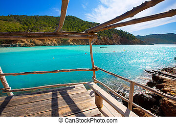 Ibiza Cala Benirras beach in san Joan at Balearic Islands ...