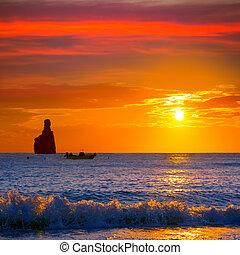 Ibiza Cala Benirras sunset beach in san Juan at Balearic Islands Spain
