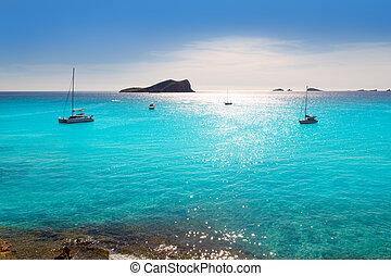 Ibiza cala Conta Conmte in San Antonio turquoise sunset