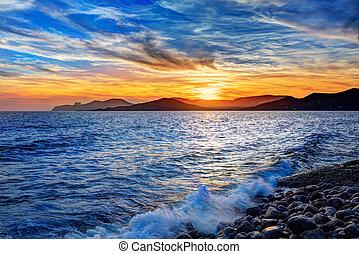 Ibiza Cap des Falco beach sunset Es Vedra in San Jose -...