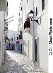 ibiza, centro cidade, branca, casas, rua estreita