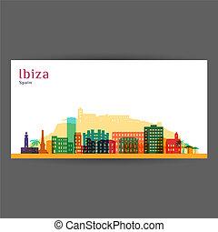Ibiza city architecture silhouette. Colorful skyline.