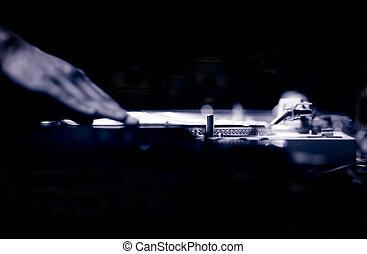 Ibiza DJ deejay record turntable in nightclub - DJ deejay...