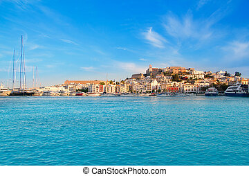 ibiza, eivissa, cidade, com, azul, mediterrâneo