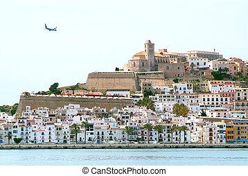 Ibiza Eivissa town with blue Medite