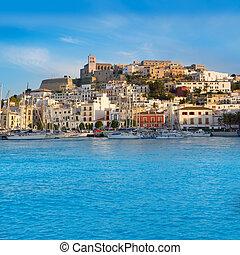 Ibiza Eivissa town with blue Mediterranean
