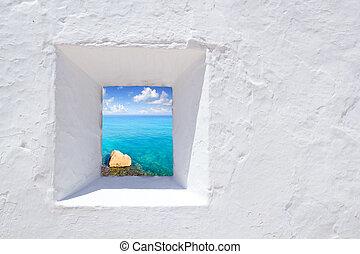 ibiza, fal, fehér, tengertől távol eső, ablak