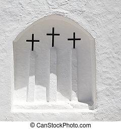 ibiza, fehér, templom, alatt, sant, carles, peralta