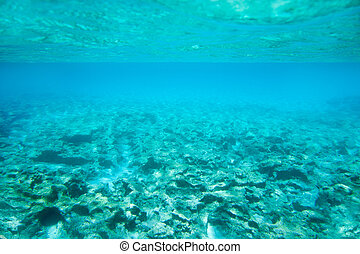 Ibiza Formentera underwater rocks in turquoise sea horizon
