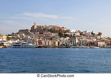 Ibiza from balearic islands in Spain. Mediterranean touristic vacation town