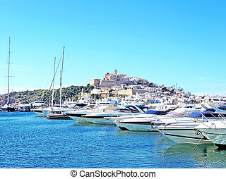 Ibiza harbor, view to the fort