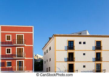 Ibiza island facades from Eivissa town