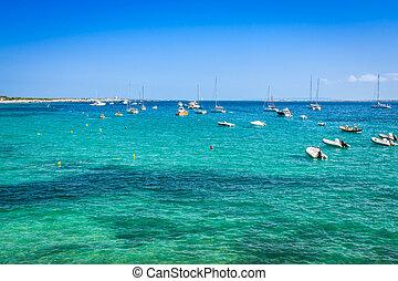 Ibiza island,beach Ses Salines in Sant Josep at Balearic...