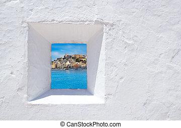 ibiza, parete, bianco, mediterraneo, finestra