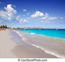 Ibiza Platja En bossa beach with truquoise water a party landmark