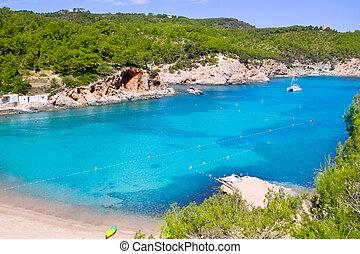 Ibiza Port de San Miquel San Miguel beach with turquoise water